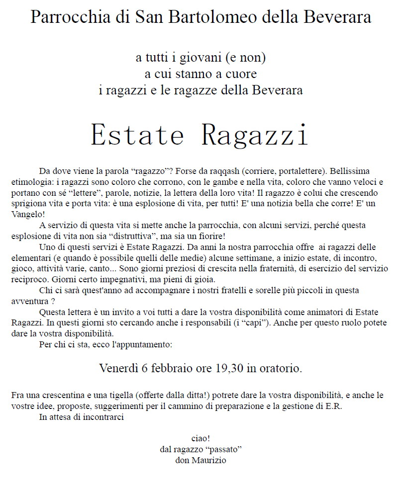 Lettera invito educatori Estate Ragazzi 6feb2015